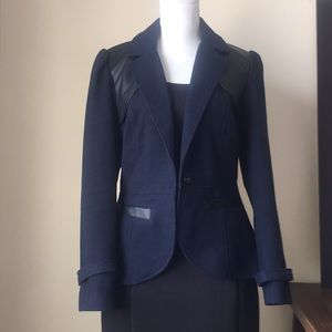 Tulle wool and faux leather trim blazer